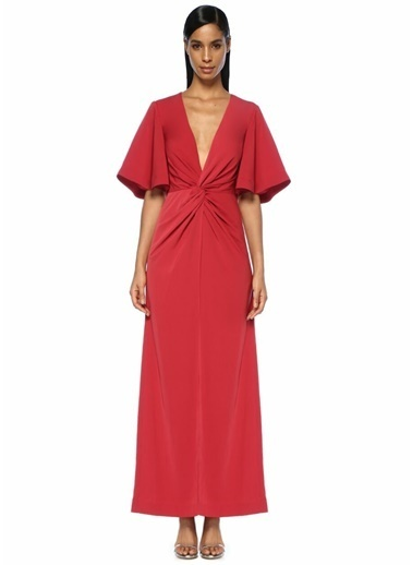 Keepsake V Yaka Düğümlü Maxi Kokteyl Elbise Kırmızı